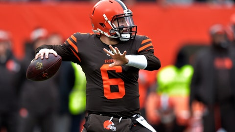 <p>               Cleveland Browns quarterback Baker Mayfield throws during the first half of an NFL football game against the Cincinnati Bengals, Sunday, Dec. 23, 2018, in Cleveland. (AP Photo/David Richard)             </p>