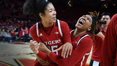 <p>               Rutgers players Stasha Carey, left, and Caitlin Jenkins celebrate their 73-65 win over Maryland in a NCAA basketball game, Monday, Dec. 31, 2018, in Baltimore. (AP Photo/Gail Burton)             </p>