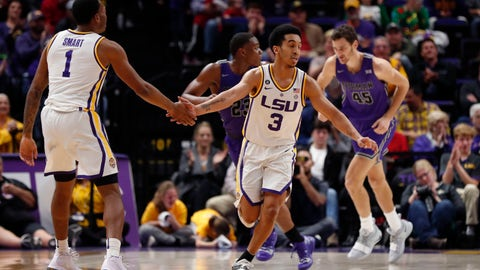 <p>               LSU guard Tremont Waters (3) celebrates with guard Ja'vonte Smart (1) during the second half the team's NCAA college basketball game against Furman in Baton Rouge, La., Friday, Dec. 21, 2018. LSU won 75-57. (AP Photo/Gerald Herbert)             </p>