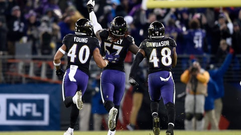 <p>               Baltimore Ravens inside linebacker C.J. Mosley, center, celebrates his interception with teammates Kenny Young, left, and Patrick Onwuasor in the second half of an NFL football game against the Cleveland Browns, Sunday, Dec. 30, 2018, in Baltimore. Baltimore Ravens won 26-24. (AP Photo/Gail Burton)             </p>