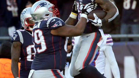 <p>               New England Patriots running back James White, right, celebrates his touchdown run with lineman Shaq Mason during the first half of an NFL football game against the Buffalo Bills, Sunday, Dec. 23, 2018, in Foxborough, Mass. (AP Photo/Elise Amendola)             </p>
