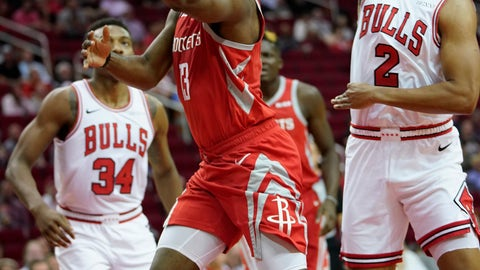 <p>               Houston Rockets' James Harden (13) goes up for a shot as Chicago Bulls' Jabari Parker (2) defends during the first half of an NBA basketball game Saturday, Dec. 1, 2018, in Houston. (AP Photo/David J. Phillip)             </p>