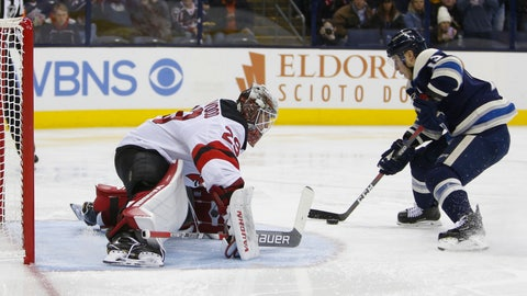 <p>               Columbus Blue Jackets' Cam Atkinson, right, scores on a penalty shot against New Jersey Devils' Mackenzie Blackwood during the second period of an NHL hockey game Thursday, Dec. 20, 2018, in Columbus, Ohio. (AP Photo/Jay LaPrete)             </p>