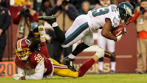 <p>               Philadelphia Eagles running back Darren Sproles (43) is kicked off his feet by Washington Redskins defensive back Adonis Alexander (39) during the first half of the NFL football game, Sunday, Dec. 30, 2018 in Landover, Md. (AP Photo/Andrew Harnik)             </p>