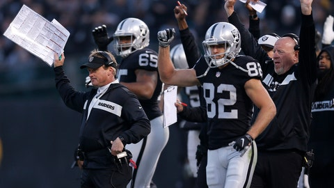 <p>               Oakland Raiders head coach Jon Gruden, left, celebrates with players and coaches after a touchdown against the Pittsburgh Steelers during the second half of an NFL football game in Oakland, Calif., Sunday, Dec. 9, 2018. (AP Photo/D. Ross Cameron)             </p>