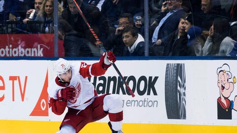 <p>               Detroit Red Wings center Dylan Larkin (71) reacts after scoring in overtime NHL against the Toronto Maple Leafs in Toronto on Thursday, Dec. 6, 2018. (Nathan Denette/The Canadian Press via AP)             </p>