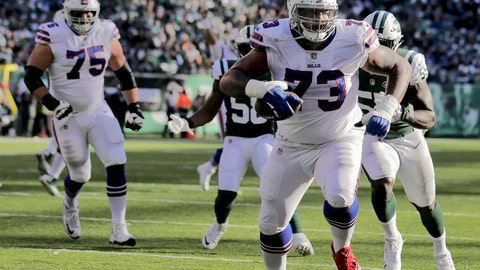 "<p>               FILE - In this Nov. 11, 2018 file photo Buffalo Bills offensive tackle Dion Dawkins (73) scores a touchdown against the New York Jets during the second quarter of an NFL football game in East Rutherford, N.J. Dawkins scans the Bills locker room from the vantage point of his corner stall and sees a glimpse of a young and potentially promising future core of a team. ""Our whole team's young,"" the second-year player said following practice Wednesday, Dec. 5, 2018. ""It's just like a freshman class at college, and we all are growing as one."" (AP Photo/Seth Wenig, file)             </p>"