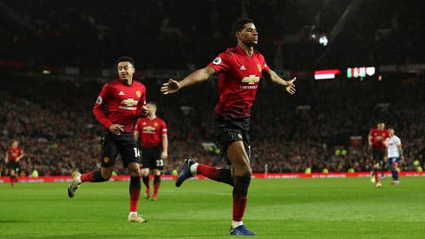 <p>               Manchester United's Marcus Rashford celebrates scoring his side's third goal of the game during the English Premier League soccer match between Manchester United and AFC Bournemouth at Old Trafford, Manchester, England, Sunday, Dec. 30, 2018. (Martin Rickett/PA via AP)             </p>