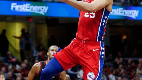 <p>               Philadelphia 76ers' Ben Simmons (25), from Australia, shoots against Cleveland Cavaliers' Rodney Hood (1) during the second half of an NBA basketball game Sunday, Dec. 16, 2018, in Cleveland. (AP Photo/Ron Schwane)             </p>