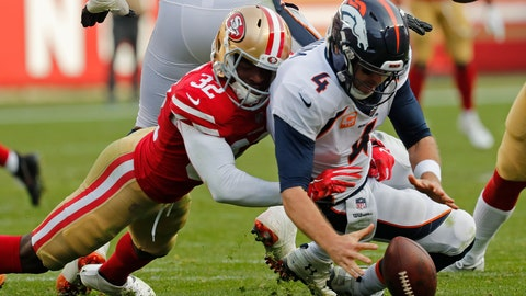 <p>               Denver Broncos quarterback Case Keenum recovers the ball after being brought down by San Francisco 49ers free safety D.J. Reed (32) during the second half of an NFL football game Sunday, Dec. 9, 2018, in Santa Clara, Calif. (AP Photo/Josie Lepe)             </p>