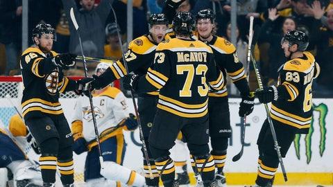 <p>               Boston Bruins' Patrice Bergeron (37) celebrates his goal with teammates Matt Grzelcyk (48), Charlie McAvoy (73), Brad Marchand (63) and Danton Heinen (43) during the first period of an NHL hockey game against the Nashville Predators in Boston, Saturday, Dec. 22, 2018. (AP Photo/Michael Dwyer)             </p>