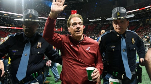<p>               FILE - In this Dec. 1, 2018, file photo, Alabama head coach Nick Saban leaves the field after the Southeastern Conference championship NCAA college football game against Georgia in Atlanta. UCF's Josh Heupel, Notre Dame's Brian Kelly and Saban are the finalists for The Associated Press national college football coach of the year after leading their teams to unbeaten regular seasons. The winner will be announced Monday, Dec. 17. (AP Photo/John Amis, File)             </p>