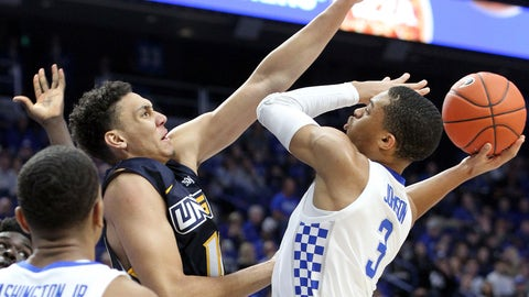 <p>               Kentucky's Keldon Johnson (3) shoots while pressured by UNC Greensboro's Kyrin Galloway during the first half of an NCAA college basketball game in Lexington, Ky., Saturday, Dec. 1, 2018. (AP Photo/James Crisp)             </p>