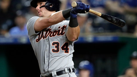 <p>               FILE - In this July 23, 2018, file photo, Detroit Tigers' James McCann hits an RBI-double during the ninth inning of a baseball game against the Kansas City Royals, in Kansas City, Mo. A person with direct knowledge of the situation says catcher James McCann has agreed to a $2.5 million, one-year contract with the Chicago White Sox. The 28-year-old McCann hit .220 with eight homers and 39 RBIs in 118 games last season with Detroit. The person spoke Friday, Dec. 14, 2018, on condition of anonymity because the contract is pending a physical. (AP Photo/Orlin Wagner, File)             </p>