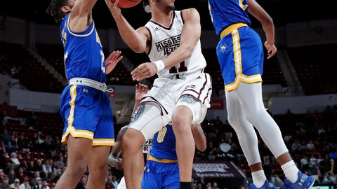 <p>               Mississippi State guard Quinndary Weatherspoon (11) is pressured by McNeese State players as he looks for an open man during the first half of an NCAA college basketball game in Starkville, Miss., Tuesday, Dec. 4, 2018. (AP Photo/Rogelio V. Solis)             </p>