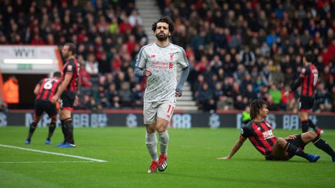 <p>               Liverpool's Mohamed Salah celebrates scoring his side's second goal of the game during their English Premier League soccer match against Bournemouth at the Vitality Stadium, Bournemouth, England, Saturday, Dec. 8, 2018. (Mark Pain/PA via AP)             </p>