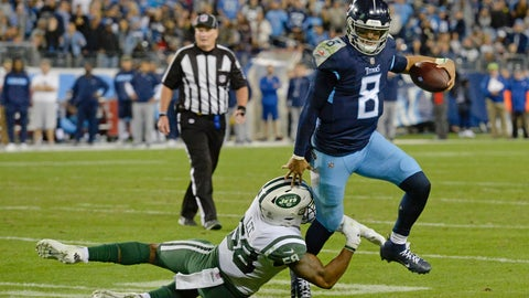 <p>               Tennessee Titans quarterback Marcus Mariota (8) gets out of the grasp of New York Jets inside linebacker Darron Lee (58) in the second half of an NFL football game Sunday, Dec. 2, 2018, in Nashville, Tenn. (AP Photo/Mark Zaleski)             </p>