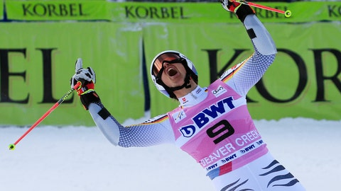 <p>               Germany's Stefan Luitz celebrates after the second run of a men's World Cup giant slalom skiing race Sunday, Dec. 2, 2018, in Beaver Creek, Colo. (AP Photo/Nathan Bilow)             </p>