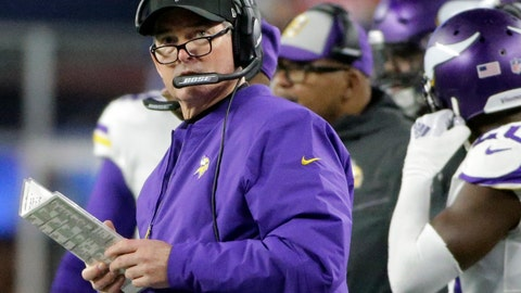 <p>               Minnesota Vikings head coach Mike Zimmer watches from the sideline during the first half of an NFL football game against the New England Patriots, Sunday, Dec. 2, 2018, in Foxborough, Mass. (AP Photo/Steven Senne)             </p>