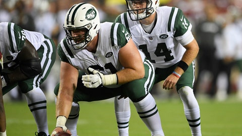 <p>               FILE - In this Aug. 16, 2018, file photo, New York Jets quarterback Sam Darnold (14) stands behind center Spencer Long (61) during the first half of a preseason NFL football game against the Washington Redskins in Landover, Md. Long has been all over the blooper reels and social media: the center who simply could not snap the football. (AP Photo/Nick Wass, File)             </p>