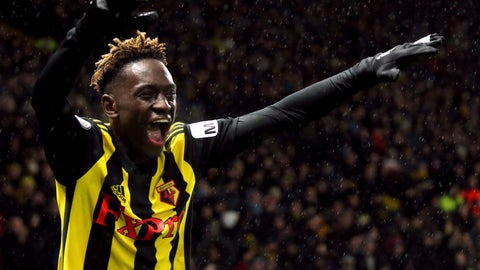 <p>               Watford's Domingos Quina celebrates scoring his side's third goal of the game during the English Premier League soccer match between Watford F.C and Cardiff City at Vicarage Road stadium, London, England. Saturday Dec. 15, 2018. (Yoi Mok/PA via AP)             </p>