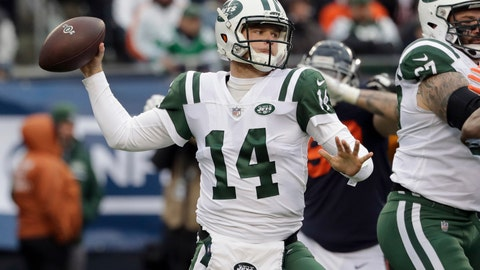 <p>               FILE - In this Oct. 28, 2018 file photo New York Jets quarterback Sam Darnold throws during the first half of an NFL football game against the Chicago Bears in Chicago. Darnold was limited at practice, a positive sign after he sat out team drills since injuring his right foot more than three weeks ago. The rookie says Wednesday, Nov. 28, 2018 he was a little sore after practice, but is hopeful he will be able to play Sunday at Tennessee after missing the Jets' last two games.(AP Photo/Nam Y. Huh, file)             </p>