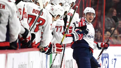 <p>               Washington Capitals left wing Jakub Vrana (13) celebrates his goal against the Ottawa Senators during the second period of an NHL hockey game, Saturday, Dec. 22, 2018, in Ottawa, Ontario. (Justin Tang/The Canadian Press via AP)             </p>