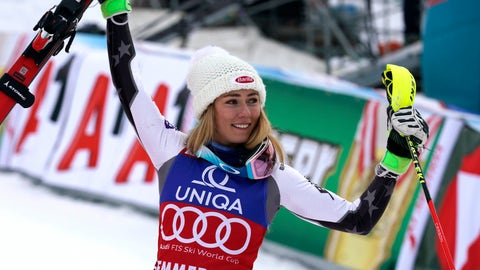<p>               United States' Mikaela Shiffrin celebrates after winning an Alpine ski, women's World Cup slalom in Semmering, Austria, Saturday, Dec. 29, 2018 (AP Photo/Giovanni Auletta)             </p>