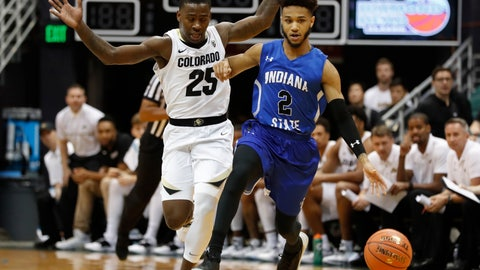 <p>               Indiana State guard Jordan Barnes (2) dribbles past Colorado guard McKinley Wright IV (25) during the second half of an NCAA college basketball game at the Diamond Head Classic, Dec. 22, 2018, in Honolulu. (AP Photo/Marco Garcia)             </p>