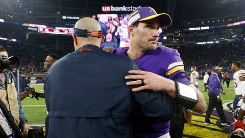 <p>               Minnesota Vikings quarterback Kirk Cousins, right, greets Chicago Bears head coach Matt Nagy, left, after an NFL football game, Sunday, Dec. 30, 2018, in Minneapolis. (AP Photo/Bruce Kluckhohn)             </p>
