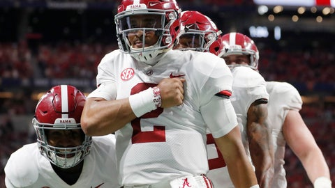 <p>               Alabama quarterback Jalen Hurts (2) celebrates his touchdown against Georgia during the second half of the Southeastern Conference championship NCAA college football game, Saturday, Dec. 1, 2018, in Atlanta. (AP Photo/John Bazemore)             </p>