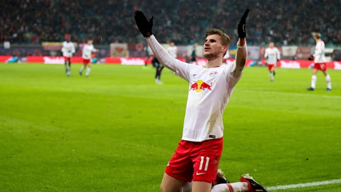 <p>               Leipzig's Timo Werner celebrates his side third goal during the German Bundesliga soccer match between RB Leipzig and FSV Mainz 05 in Leipzig, Sunday, Dec. 16, 2018. (Jan Woitas/dpa via AP)             </p>
