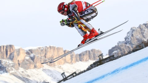 <p>               Czech Republic's Ester Ledecka speeds down the course during the training of a women's World Cup Downhill, in Val Gardena, Italy, Monday, Dec. 17, 2018. (AP Photo/Alessandro Trovati)             </p>