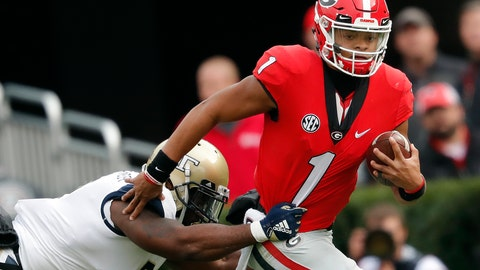 <p>               FILE - In this  Saturday, Nov. 24, 2018 file photo, Georgia quarterback Justin Fields (1) tries to escape from Georgia Tech linebacker Victor Alexander (9) in the second half of an NCAA college football game in Athens, Ga. Georgia quarterback Justin Fields is on the transfer market. The move could have a huge impact on and off the field. On the latest AP Top 25 College Football Podcast, USA Today's Dan Wolken join AP's Ralph Russo to discuss why Fields is looking to move on and why the freshman might have a good chance to receive a waiver to play immediately for another team. (AP Photo/John Bazemore, File)             </p>