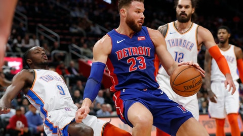 <p>               Detroit Pistons forward Blake Griffin (23) fouls Oklahoma City Thunder forward Jerami Grant (9) during the first half of an NBA basketball game, Monday, Dec. 3, 2018, in Detroit. (AP Photo/Carlos Osorio)             </p>