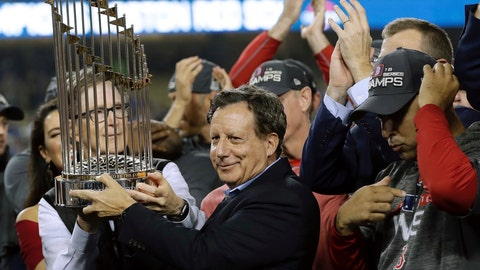 <p>               File- This Oct. 28, 2018, shows Boston Red Sox owner John Henry, partially hidden at left, and chairman Tom Werner holding the championship trophy beside manager Alex Cora, right, after Game 5 of baseball's World Series against the Los Angeles Dodgers in Los Angeles. The World Series champion Red Sox owe $11.95 million in luxury tax for having baseball's top payroll, according to final calculations by the commissioner's office obtained by The Associated Press. The only other team that owes is the Washington Nationals, who must pay $2.39 million.  (AP Photo/David J. Phillip, File)             </p>