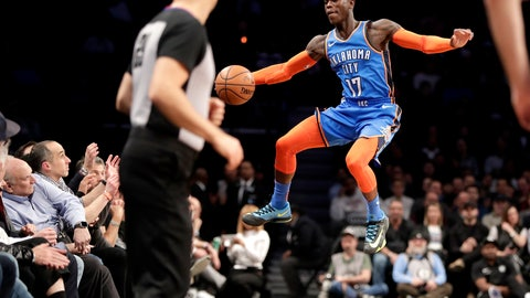 <p>               Oklahoma City Thunder guard Dennis Schroder fails to keep the ball in bounds during the first half of an NBA basketball game against the Brooklyn Nets, Wednesday, Dec. 5, 2018, in New York. (AP Photo/Julio Cortez)             </p>