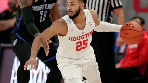 <p>               Houston guard Galen Robinson Jr. (25) drives around Saint Louis forward Hasahn French (11) during the first half of an NCAA basketball game Sunday, Dec. 16, 2018, in Houston. (AP Photo/Michael Wyke)             </p>
