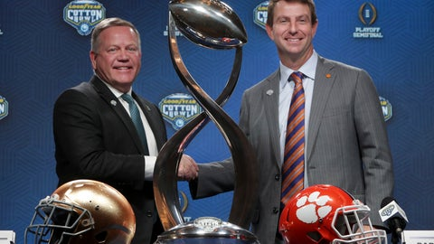 <p>               Notre Dame head coach Brian Kelly, left, and Clemson head coach Dabo Swinney share a moment during the NCAA Cotton Bowl football coaches' news conference in Dallas, Friday, Dec. 28, 2018. Notre Dame is scheduled to play Clemson in the NCAA Cotton Bowl semi-final playoff Saturday. (AP Photo/LM Otero)             </p>