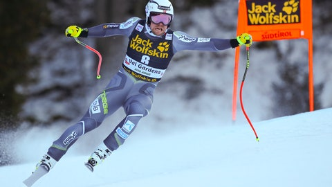 <p>               Norway's Aleksander Aamodt Kilde speeds down the course during a men's World Cup downhill, in Val Gardena, Italy, Saturday, Dec. 15, 2018. (AP Photo/Marco Trovati)             </p>