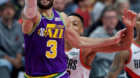 <p>               Utah Jazz guard Ricky Rubio shoots in front of Portland Trail Blazers guard CJ McCollum during the second half of an NBA basketball game in Portland, Ore., Friday, Dec. 21, 2018. (AP Photo/Craig Mitchelldyer)             </p>