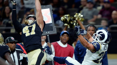 <p>               FILE - In this Aug. 30, 2018, file photo, New Orleans Saints linebacker Alex Anzalone (47) intercepts a pass intended for Los Angeles Rams running back Nick Holley (25) in the first half of an NFL preseason football game in New Orleans. No matter how much New Orleans' defense may have improved since this season's opening week, Anzalone does not see the benefit in dismissing as irrelevant the 48 points the Saints surrendered in a Week 1 loss to the Buccaneers. (AP Photo/Bill Feig, File)             </p>