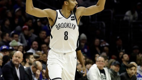 <p>               Brooklyn Nets' Spencer Dinwiddie celebrates after making a basket during the first half of an NBA basketball game against the Philadelphia 76ers, Wednesday, Dec. 12, 2018, in Philadelphia. Brooklyn won 127-124. (AP Photo/Matt Slocum)             </p>
