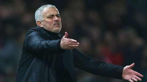 <p>               Manchester United's coach Jose Mourinho gives directions to his players during the English Premier League soccer match between Manchester United and Arsenal at Old Trafford stadium in Manchester, England, Wednesday Dec. 5, 2018. (AP Photo/Dave Thompson)             </p>