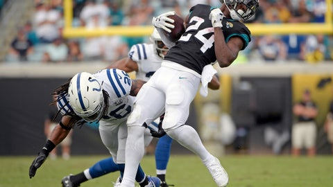 <p>               Jacksonville Jaguars running back T.J. Yeldon (24) breaks a tackle by Indianapolis Colts strong safety Clayton Geathers during the first half of an NFL football game, Sunday, Dec. 2, 2018, in Jacksonville, Fla. (AP Photo/Phelan M. Ebenhack)             </p>