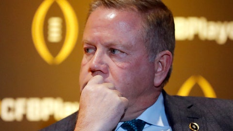 <p>               Notre Dame coach Brian Kelly listens during a news conference Thursday, Dec. 6, 2018, in Atlanta. Notre Dame is one of the four teams in the College Football Playoff. (AP Photo/John Bazemore)             </p>