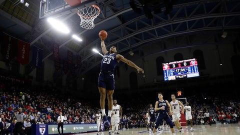<p>               Villanova's Jermaine Samuels goes up for a dunk during the first half of an NCAA college basketball game against Penn, Tuesday, Dec. 11, 2018, in Philadelphia. (AP Photo/Matt Slocum)             </p>