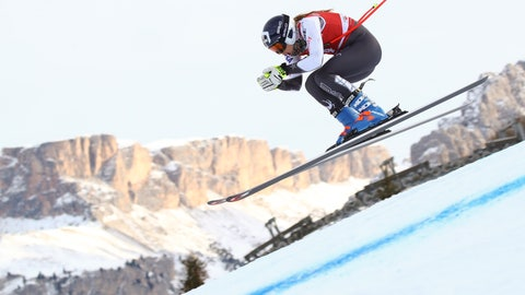 <p>               United States' Laurenne Ross speeds down the course during the training of a women's World Cup Downhill, in Val Gardena, Italy, Monday, Dec. 17, 2018. (AP Photo/Alessandro Trovati)             </p>