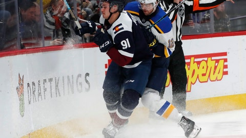 <p>               St. Louis Blues left wing Zach Sanford, right, checks Colorado Avalanche center Valdislav Kamenev as he tries to collect the puck along the boards during the first period of an NHL hockey game Friday, Nov. 30, 2018, in Denver. (AP Photo/David Zalubowski)             </p>
