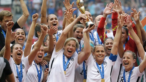 <p>               FILE - In this July 5, 2015, file photo, the United States Women's National Team celebrates after they beat Japan in the FIFA Women's World Cup soccer championship in Vancouver, British Columbia. The United States women's soccer team will open next year with games at World Cup host France and Spain and finish a 10-game schedule leading to the tournament with a send-off match against Mexico at Harrison, N.J., on May 26, 2019. (AP Photo/Elaine Thompson, File)             </p>